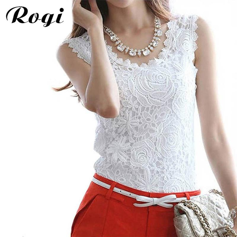 5fadd749a3f 2019 Rogi Women Lace Blouses 2017 Sexy Summer Sleeveless Tank Tops Vest  Ladies Harajuku Shirts Ladies Jumper Tops Plus Size Clothing From Maluokui,  ...