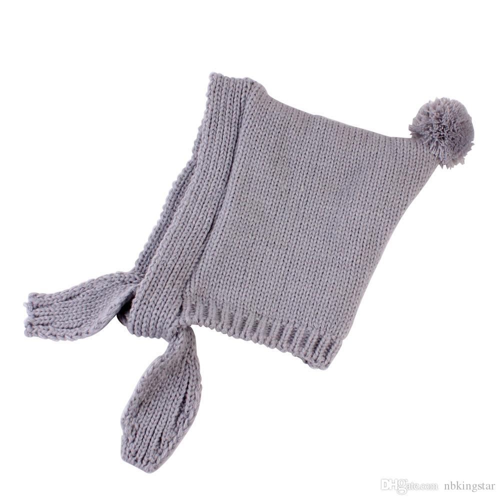 Winter Knitted Bomber Hats For Kids Children Tassel Pompom Ball Trapper Cap Baby Warm Fleece Earflap Beanies Hat