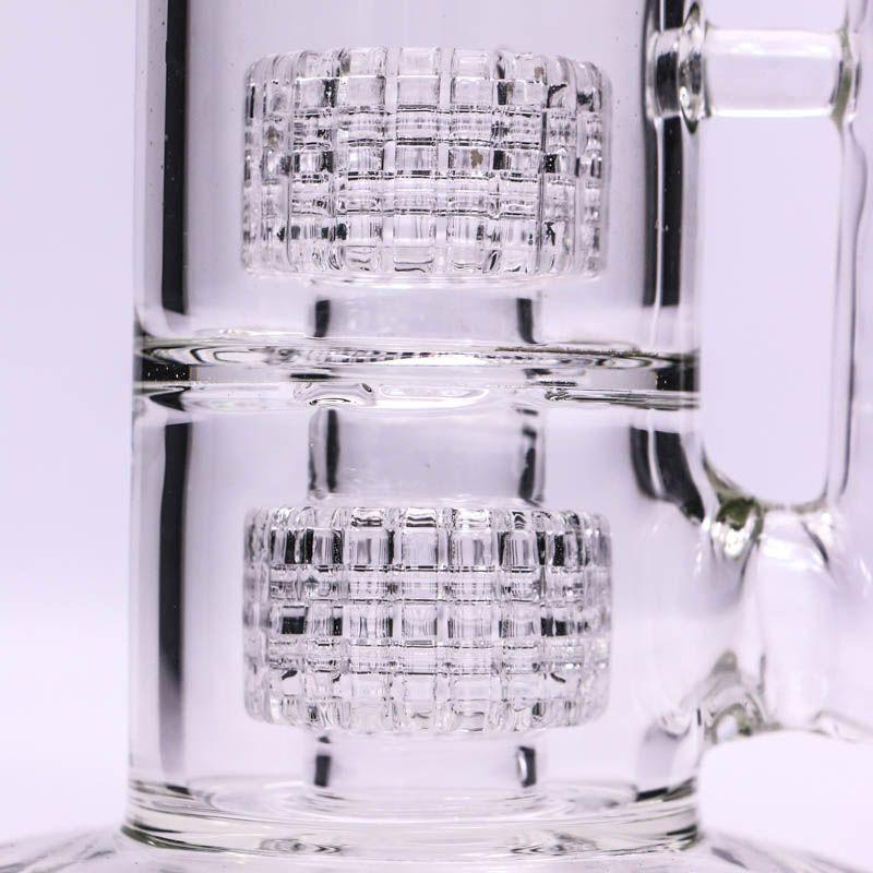 Glas-Bong-Vortex-Bongs-Doppelkäfige Percolator Glasrohr-Tupfer-Ölbohrinsel Mobius Matrix-Beiwagen Wate Bongs Bubbler