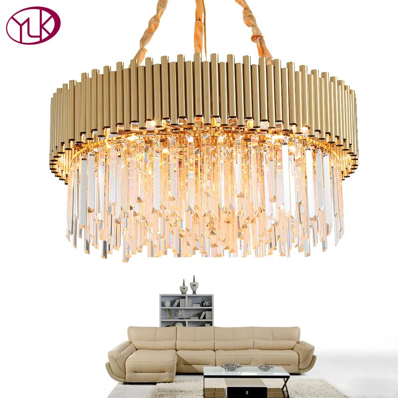 Youlaike Luxury Gold Chandelier Lighting Modern Living Room Crystal Lamp Round Flush Mount Hanging Light Fixture For Dining Cheap Chandeliers