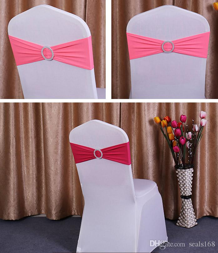 Elastic Chair Sashes Band Covers For Wedding Party Prom With Hoop Buckle Spandex Chairs Sash Buckles Cover 40*14cm HH7-942