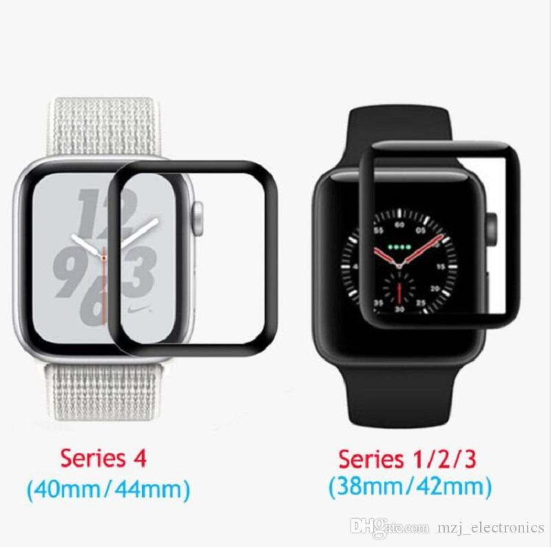new product 41846 ea130 For Apple Watch series 4 3D curved edge cover Tempered glass screen  protector 40mm 44mm free shipping
