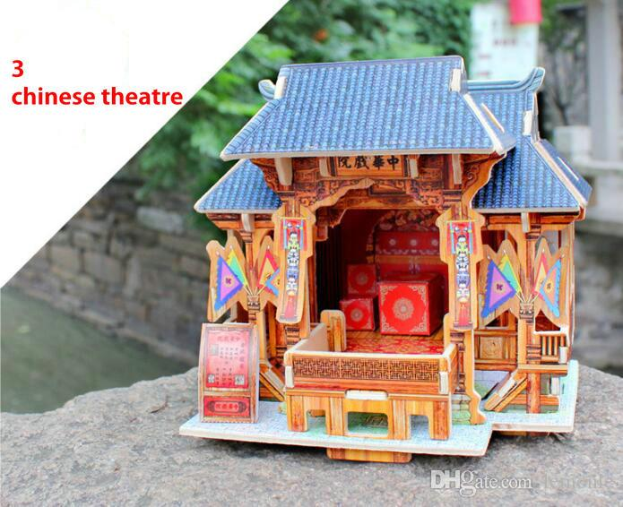 Sıcak Sihirli 3D Bulmaca Çocuk Eğitici Oyuncaklar DIY Ahşap Bulmacalar Yapboz Evi Kale Ünlü Bina