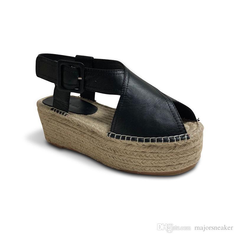 1613bfa0bca2 Summer Women Peep Toe Faux Leather Ankle Strap Sandals Woman Hemp ...