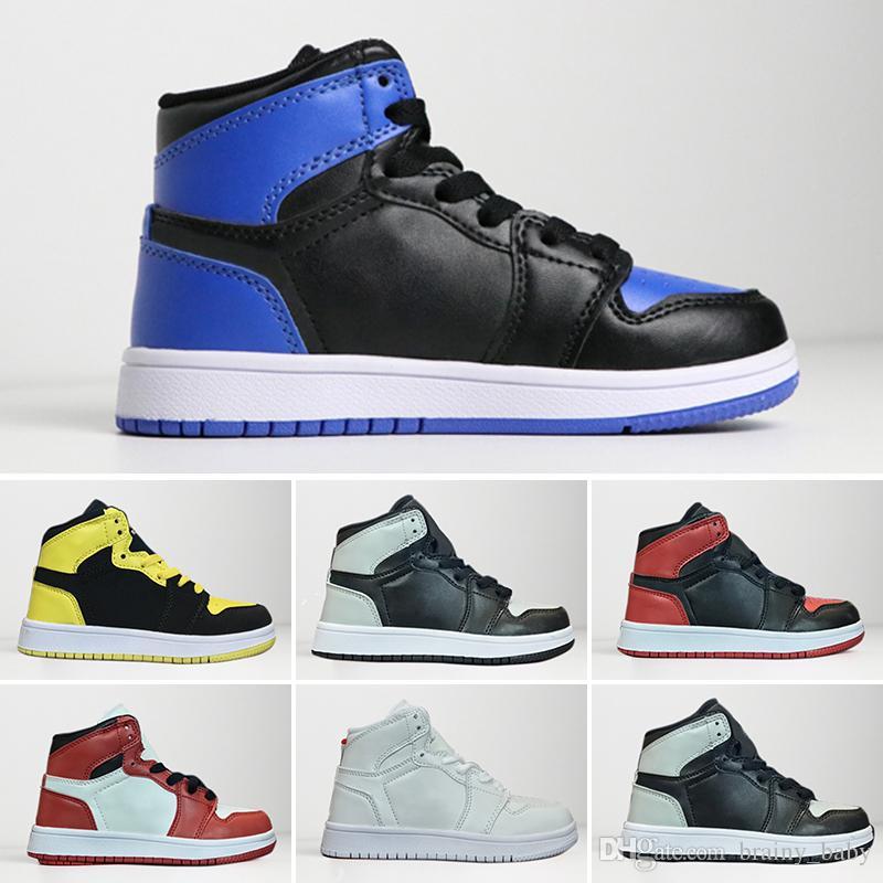 sneakers for cheap 33e82 8b5c5 Großhandel Kinder Schuhe OG Nike Air Jordan 1 Retro Basketball Schuhe Kinder  Jungen Mädchen 1 Top 3 Gezüchtet Schwarz Rot Weiß Turnschuhe Kinder ...