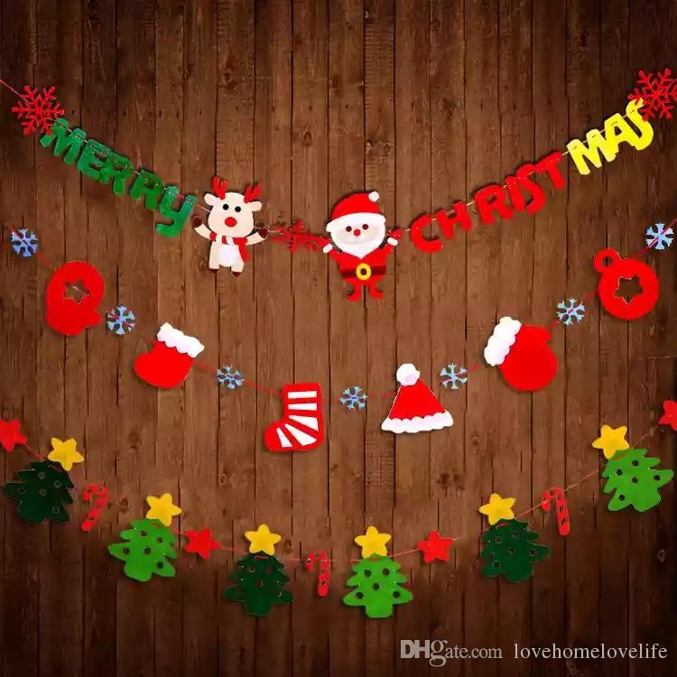 Compre decoraciones navide as banderas colgantes telas for Decoraciones navidenas de puertas y ventanas