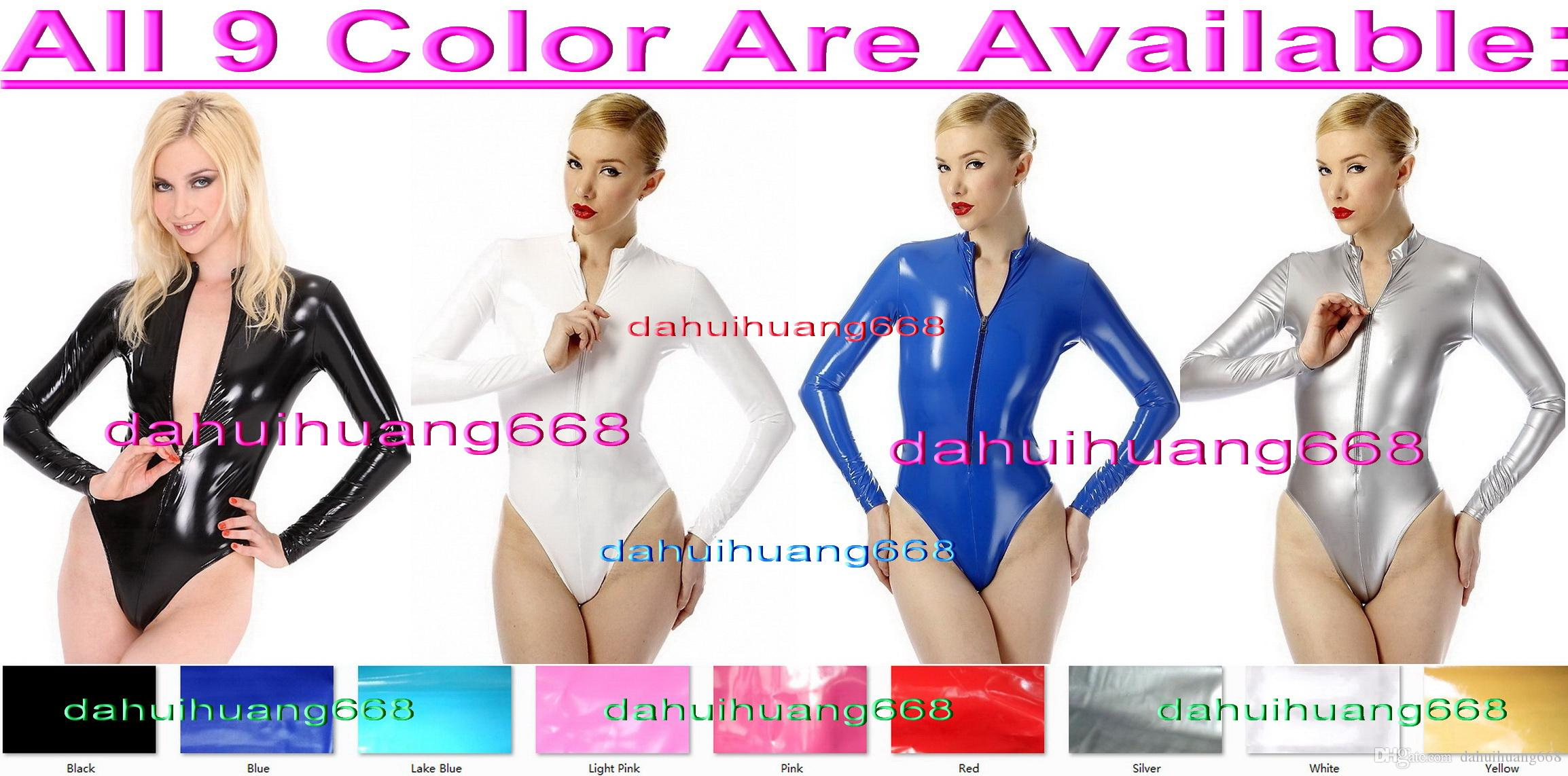 Sexy Shont PVC Body Suit Costumes Sexy 9 Color Shiny PVC Short Suit Catsuit Costumes Unisex Short Bodysuit Costumes With Front Zipper DH220