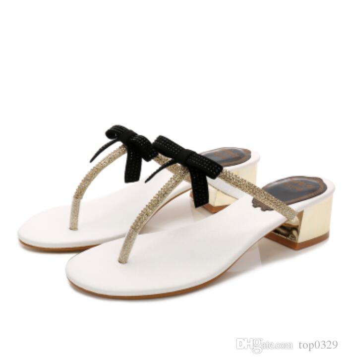 399268352bf57 Women Sandals Boutique Simple Luxury Diamond Bow Fashion Brand Flat Beach  Sexy Ladies Classic Rhinestone T Shaped Thick Toe Slippers Buy Shoes Online  Wedge ...