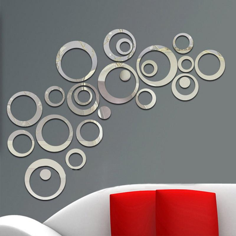 circles wall stickers mirror style removable decal vinyl art mural