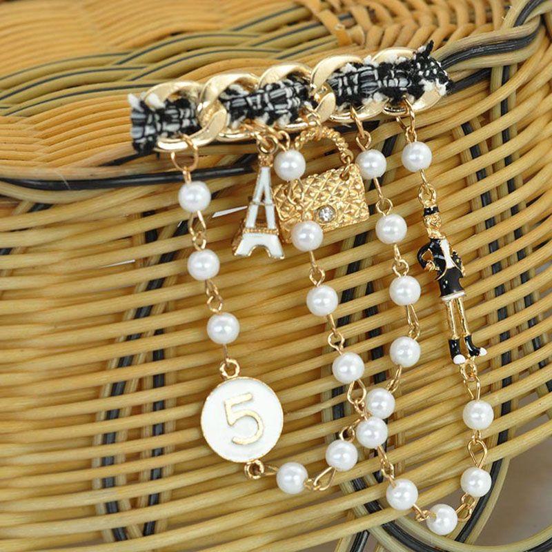 Verkaufs-Einzelteile geben Verschiffen-elegante Dame-Perle-Ketten-Broschen-Stifte Schal-Wölbungs-Kragen-Schmucksache-Kleidungs-Dekorationen Spitzen-Großverkauf frei