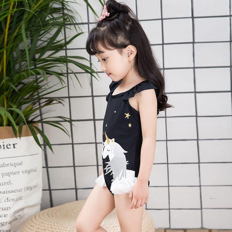Vieeoease Kızlar Mayo Unicorn Tek Parça Yüzmek Çocuk Giyim 2018 Yaz Moda Dantel Çiçek Yay Prenses Mayo EE-380