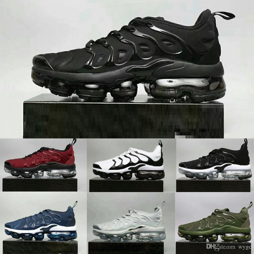 Compre With Box Nike Air Max 2018 Airmax Vapormax Tn Plus 2018 Nuevo  Vapormax Tn Plus Oliva En Metalizado Blanco Plata Colorways Zapatos Para  Correr Male ...