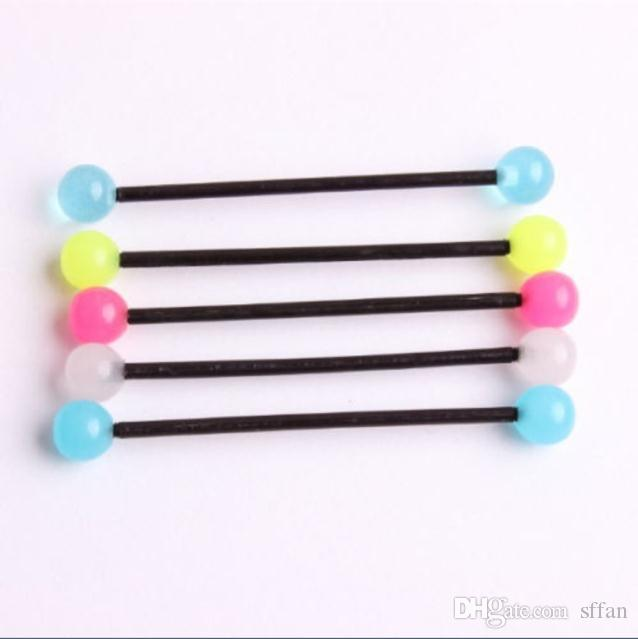 glow in the dark acrylic industrial bar scaffold ear barbell ring piercing sexy earring body jewelry