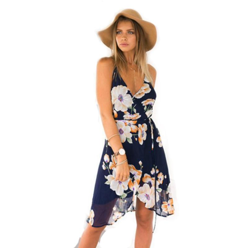 a1c6654b150 Women Navy Floral Print Sexy Strappy Wrap Dress Backless Asymmetrical Dress  Summer Fashion Sexy A Line Chiffon Beach Dress MT1094 NZ 2019 From ...