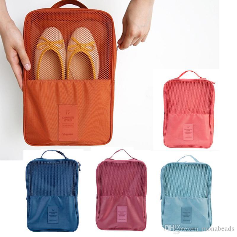 85f39a4763fd Travel Shoes Bag Nylon Mesh Waterproof Double Zipper Shoes Sorting Pouch  Portable Clothes Organizer Bags Shoe Storage Pouch