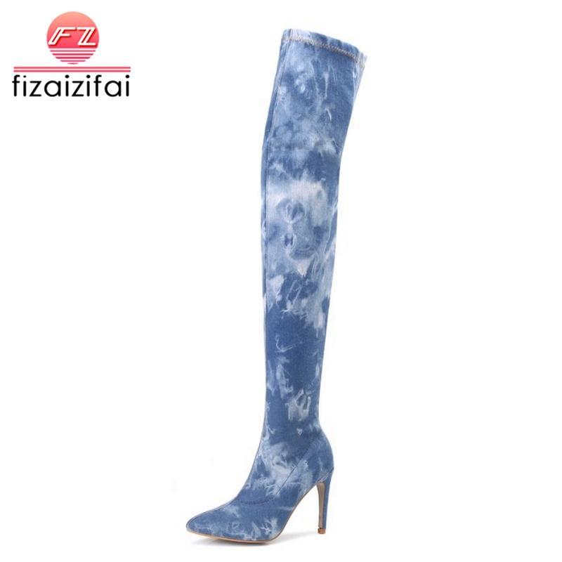 aca9d50e312119 Großhandel FizaiZifai Frau High Heel Stiefel Jeans Winter Oberschenkel  Ferse Stiefel Damenschuhe Mode Klassische Schuhe Weibliche Schuhe Größe 36  42 Von ...