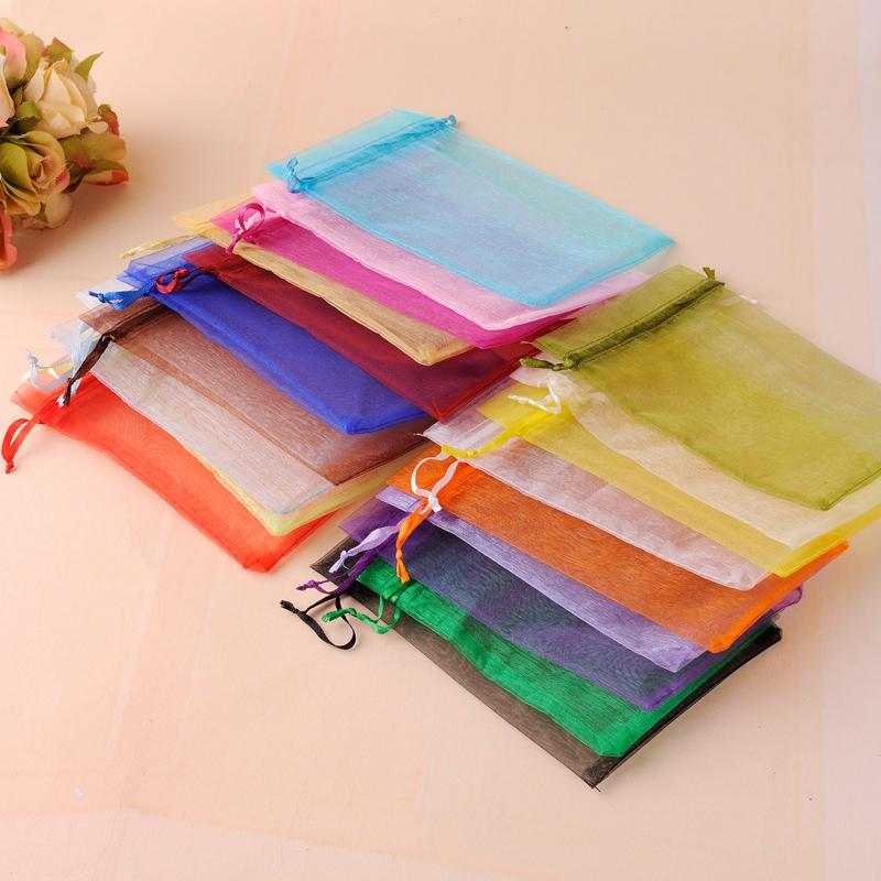 White Organza Jewelry Packaging Gift Bags Cheap Pouches Bags Tea Sack Can Customized Logo Printing 11x16cm Wholesale