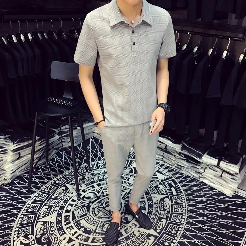 2018 Dekusi Short Sleeve T Shirt Set Men Summer Wear New Pattern Lapel  Lattice Tracksuit Suit Ensemble Homme From Philipppe 37dfc8e1922