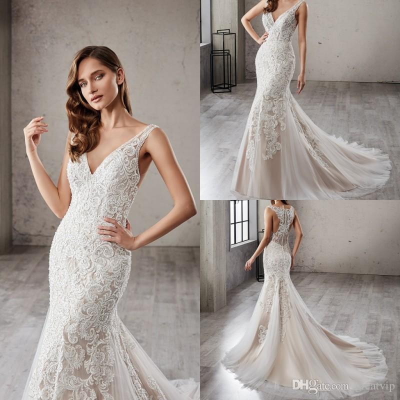 2019 Eddy K Wedding Dresses V Neck Mermaid Sleeveless Beads Lace
