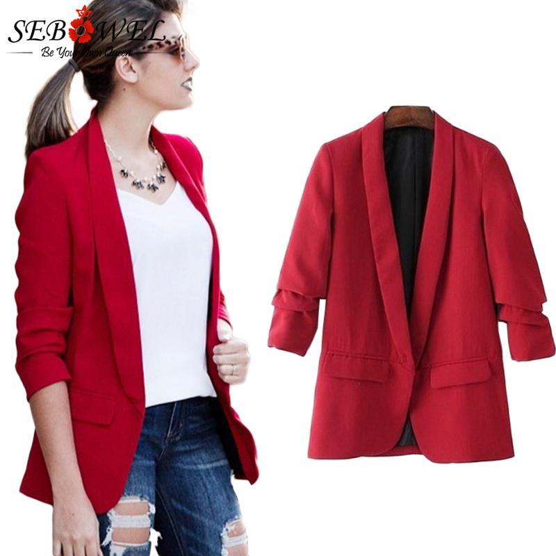 e0f31e934c068 2019 SEBOWEL 2018 Autumn Female Blazer Elegant Women Blazers And Jackets  Plus Size Office Lady Work Formal Coat Slim Women Blazer From Sideceam