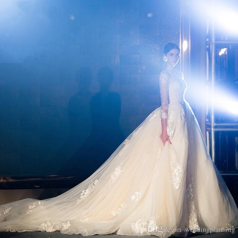 Light Champagne Ivoire Image réelle Robe de mariée Longue Train amovible Appliques Appliques à manches longues Saudi Arabie Saudi Arabie Robes de mariées formelles