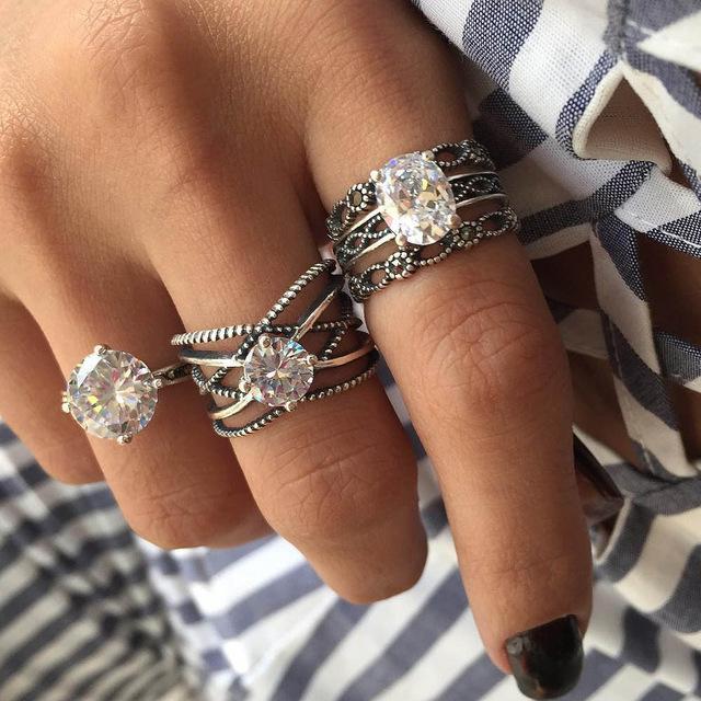 2019 Big Cubic Zircon Wedding Knuckle Rings For Women Silver Color