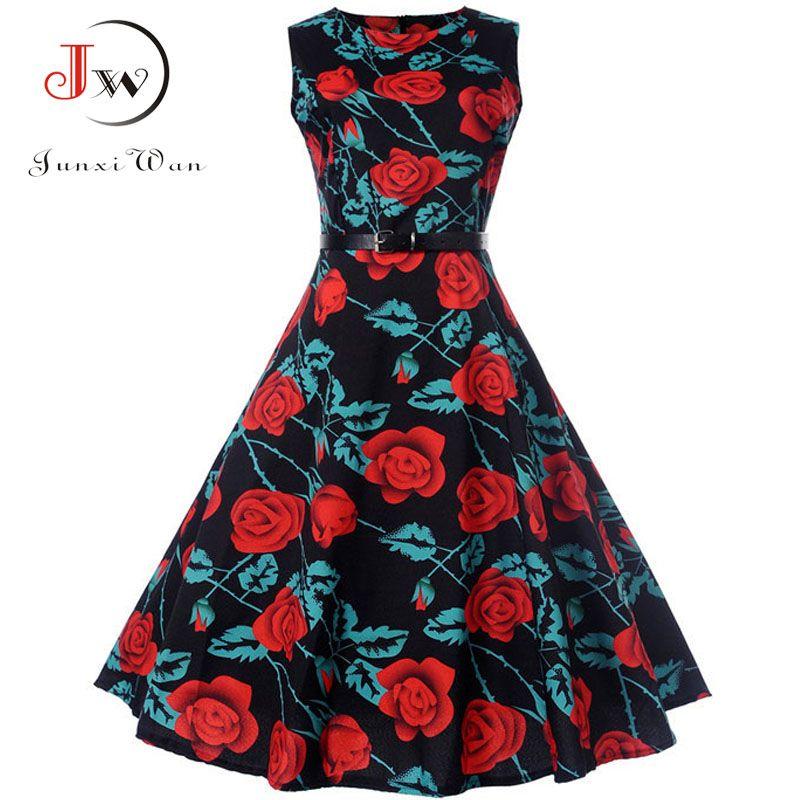 8f31c08ab518e Summer Dress 2018 Women Sleeveless Floral Print Vintage Dress Retro 50s 60s  Robe Rockabilly Swing Pinup Vestidos Tunic Plus Size