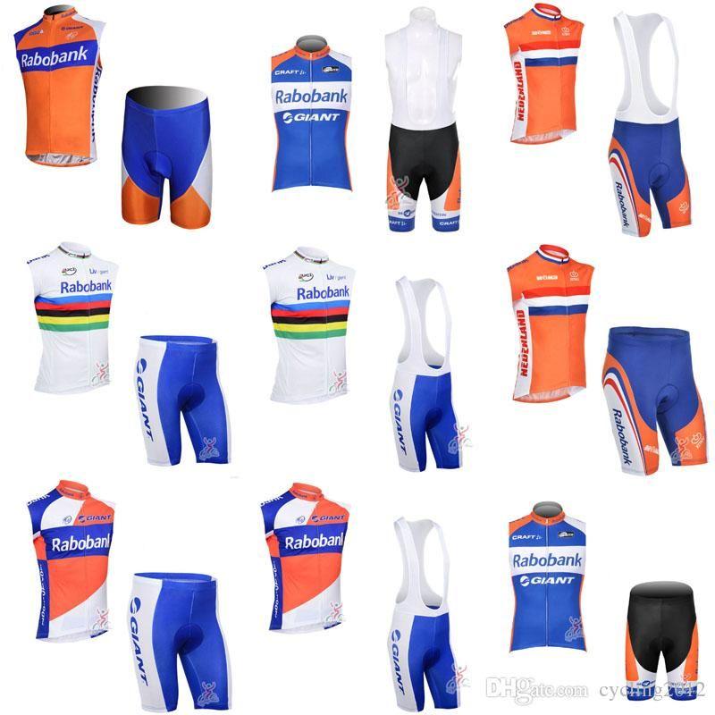 RABOBANK Team Cycling Jersey Bib Shorts Sleeveless Vest Sets 3D Gel Pad Pro  Team Men S Breathable Quick Dry Bike Sportswear F0905 Bianchi Jersey Cycling  ... 342b79c1c