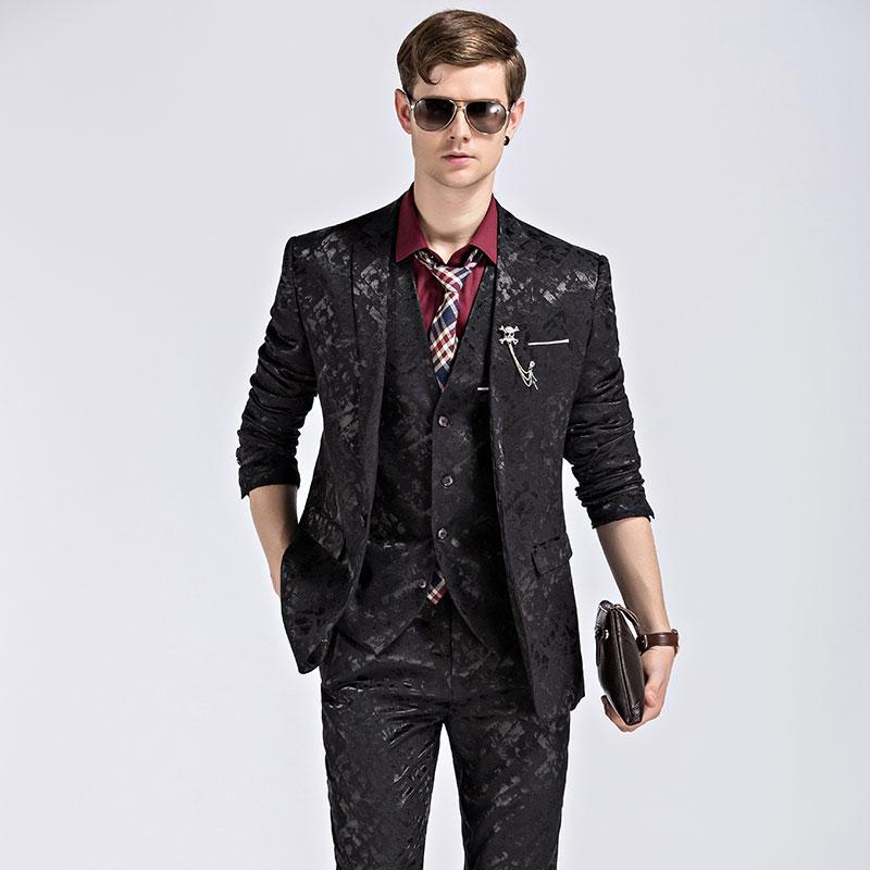 Blazer + Pantalon + Gilet Costume De Mode Hommes Shine Motif De Luxe Hommes Stage Porter Pour Chanteur Slim Fit Hommes Costumes De Mariage Vêtements M-3XL
