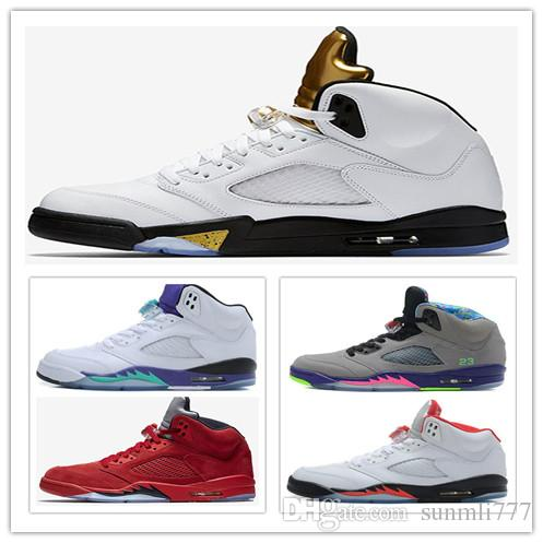 e0848100c59 Men 5 5s Basketball Shoes Blue Red Suede Olympic Metallic Gold ...