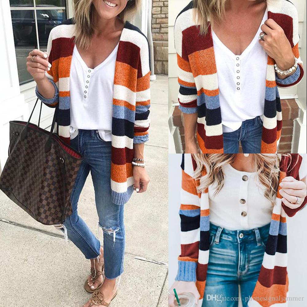 750a89057d 2019 Women S Lightweight Sweater Geometric Print Drape Front Cable Knit  Cardigan With Pocket From Phonesignaljammer