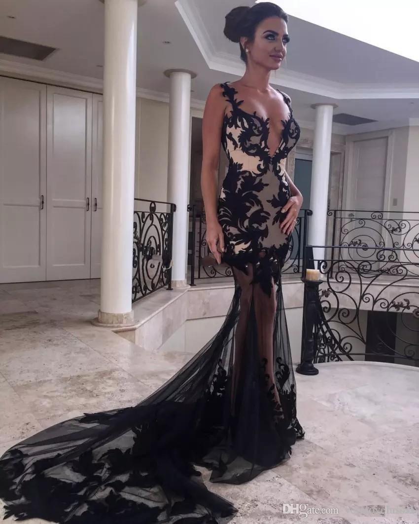 2018 Nueva Sexy Black Illusion sirena vestidos de noche correas de espagueti bordado apliques Tulle Backless Prom vestido de noche vestidos de fiesta