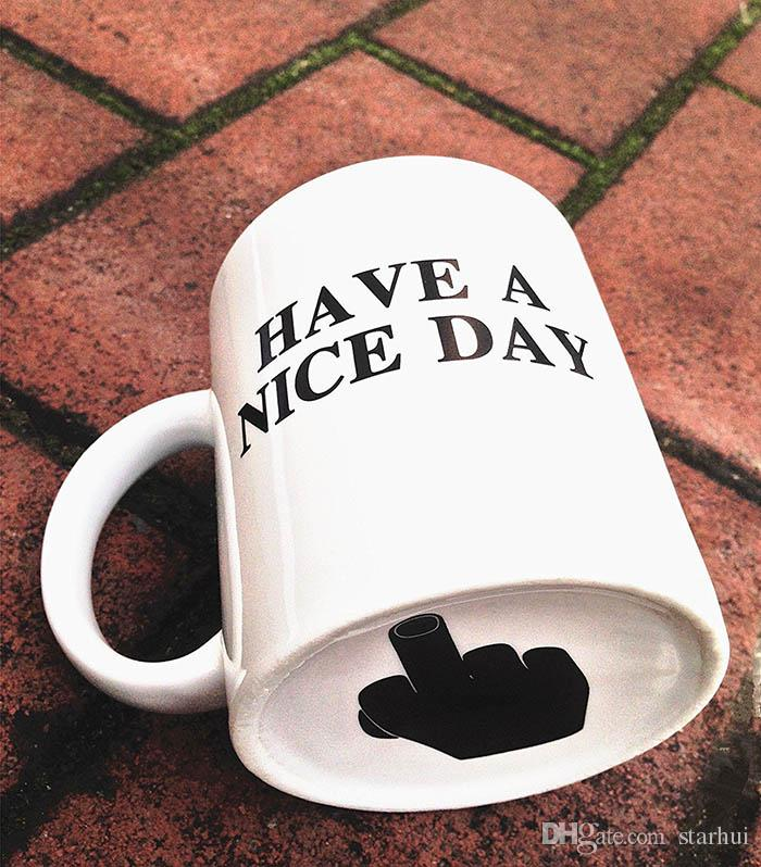 Creative Have a Nice Day Ceramic Coffee Mugs 301-400ML Middle Finger Funny Cup Milk Tea Drinking Cup Gifts WX9-240