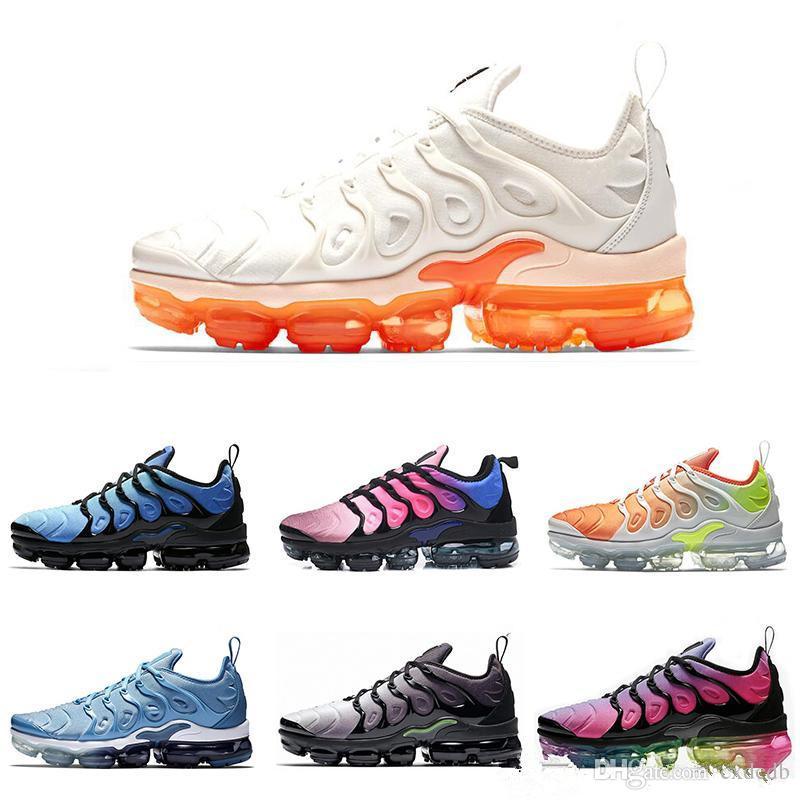 016888c44b Nueva Popular TN Plus SEA VERDADERO Zapatos Para Correr Para Hombre Blanco  Naranja Volt Hyper Blue Zapatillas Deportivas Zapatos Venta Al Por Mayor ...