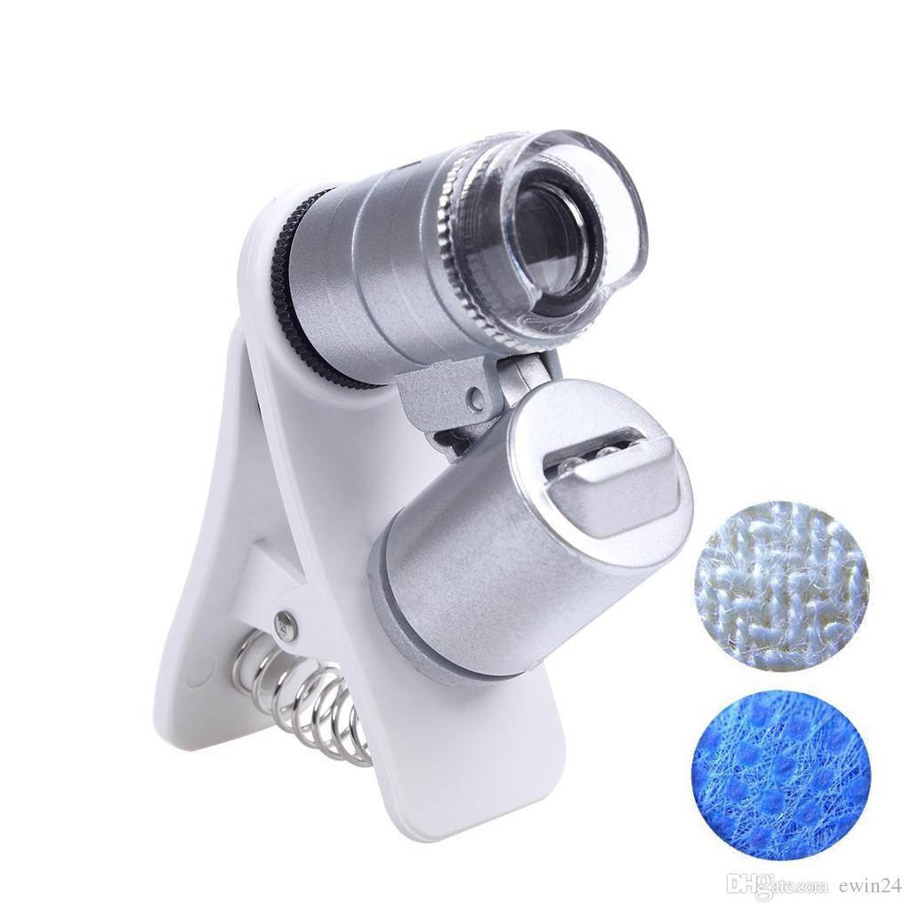 Loupe avec loupe pour téléphone portable avec zoom 60X avec LED et lumière ultraviolette Microscope pour téléphone portable à clip pour tous les téléphones portables
