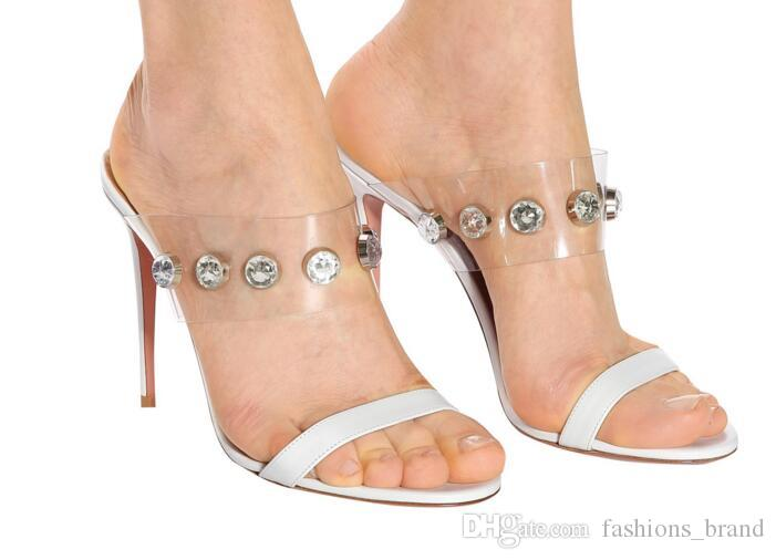 f411f4a5a52 Women Gladiator Roma Sandals Transparent Slippers Summer Slip On PVC ...