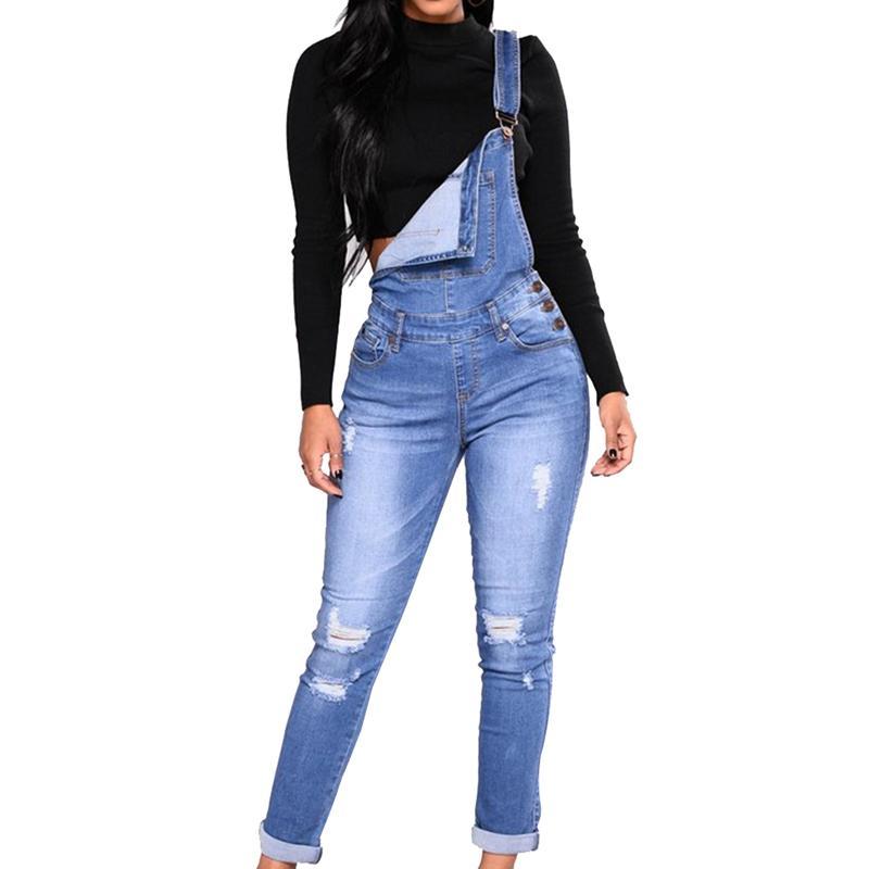 c47249688 Compre 2018 Mulheres Macacão Jeans Jardineiras De Cintura Alta Calça Jeans  Comprida Lápis Macacão Macacão Jeans Azul Macacões Novo De Worsted