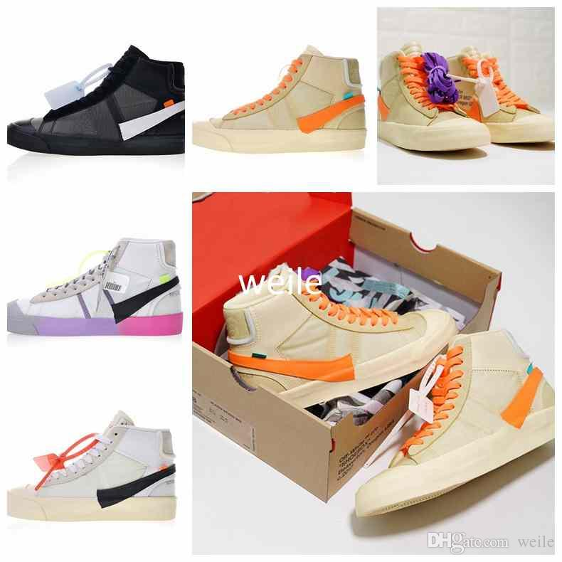 New Blazers Studio Mid Rainbow All Hallows Eve Grim Reepers The Queen OFF Mens  Women Running Shoes Black White Yellow Sports 10X Sneakers Blazers Running  ... 368ad168e