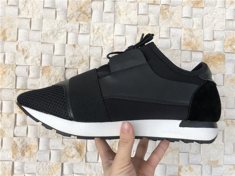 5dc58aadee Compre Malha De Couro Preto Paris Designer Sapatilhas Sapatos Casuais Dos  Homens Das Mulheres Corredores De Esportes Respirável Calçados Diários  Rendas Até ...