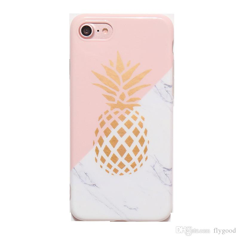 low priced 8d1a5 96814 Hot Sale Gold Pineapple Phone Case Geometric Splice Stone Marble Texture  Pattern Cases For iphone 6 6S 7 8 8 Plus X Cover