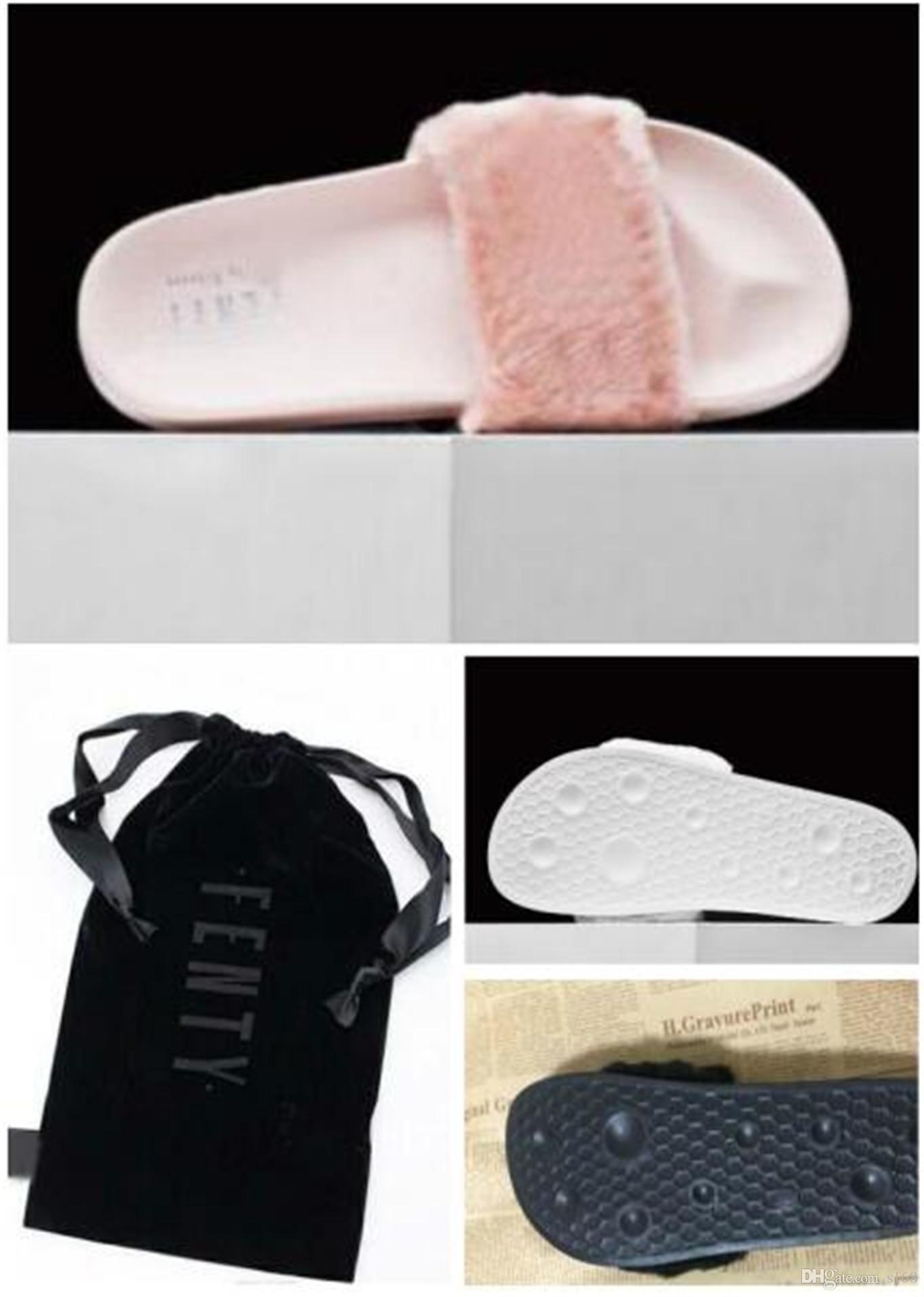 111e42d6582 Dust Bags+ BoxRIHANNA FUR LEADCAT FENTY SLIDES SLIPPERS WOMEN Men House  Winter Slipper Home Shoes Woman Warm Slippers Chinelo Feminino Bag Rain  Boots Mens ...