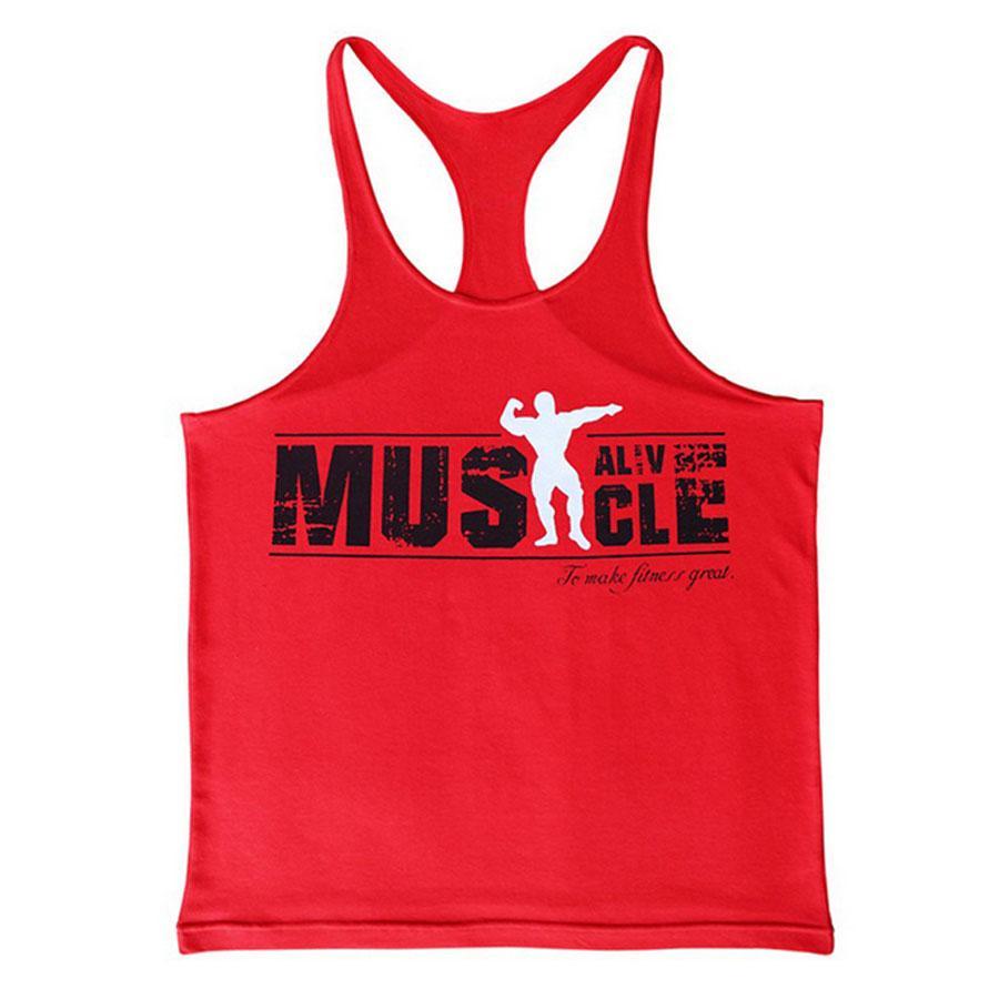 Мышцы смешно Бодибилдинг Майка мужчины печать Y назад фитнес стрингеры Crossfit жилет мужская хлопок пройма Майка лето Синглет