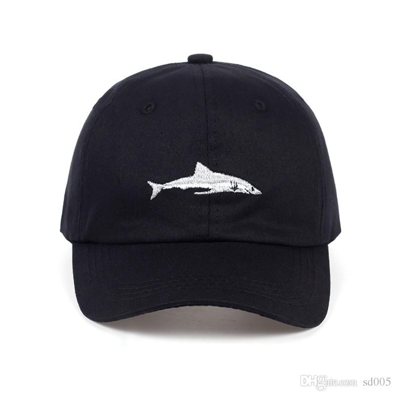 4252138a0db Two Color Breathable Sun Hats Anti UV Hip Hop Cap Embroidery Shark ...
