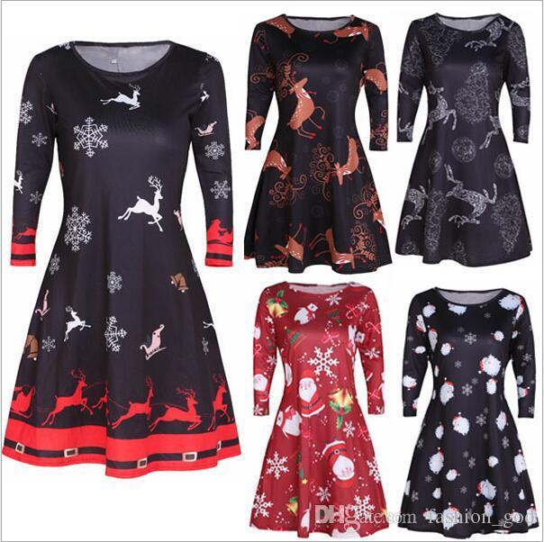 77926f92d2fbe Dresses Christmas Print Dress Plus Size Xmas Dress Digital Fashion Dress  Sexy A Line Dresses Long Sleeve Slim Dresses Women Clothing 3712 Cute White  Dresses ...