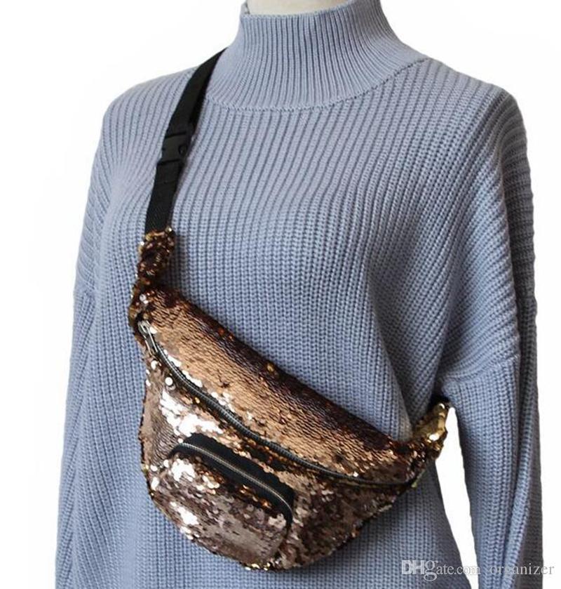Ücretsiz Tasarım 100 adet Mermaid Bel Çantası Sequins Glitter Seyahat Kalça çanta Zip Kılıfı Omuz Çantaları Açık Spor Çanta Bum Çanta Kılıfı Kalça çanta