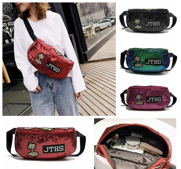ad1dbc5604c0 4styles Women Sequin Waist Badge Bags Outdoor Sports Travel Fanny Packs  Cross body Shoulder fashion Bag FFA558 50pcs