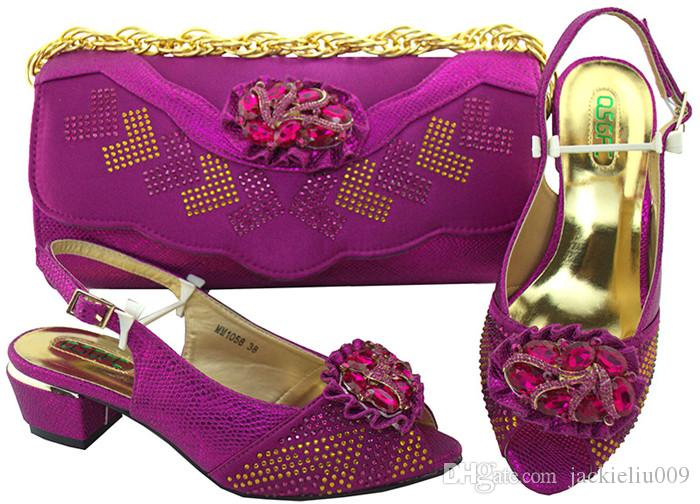 Merveilleux dames mauves talon bas 4CM chaussures avec cristal et strass chaussures africaines match ensemble de sac à main pour robe MM1058