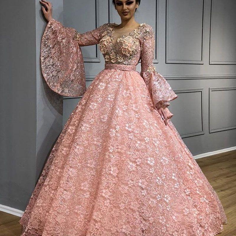 Compre Arabian Design Ball Gown 2018 Vestidos De Baile De Encaje 3d ...