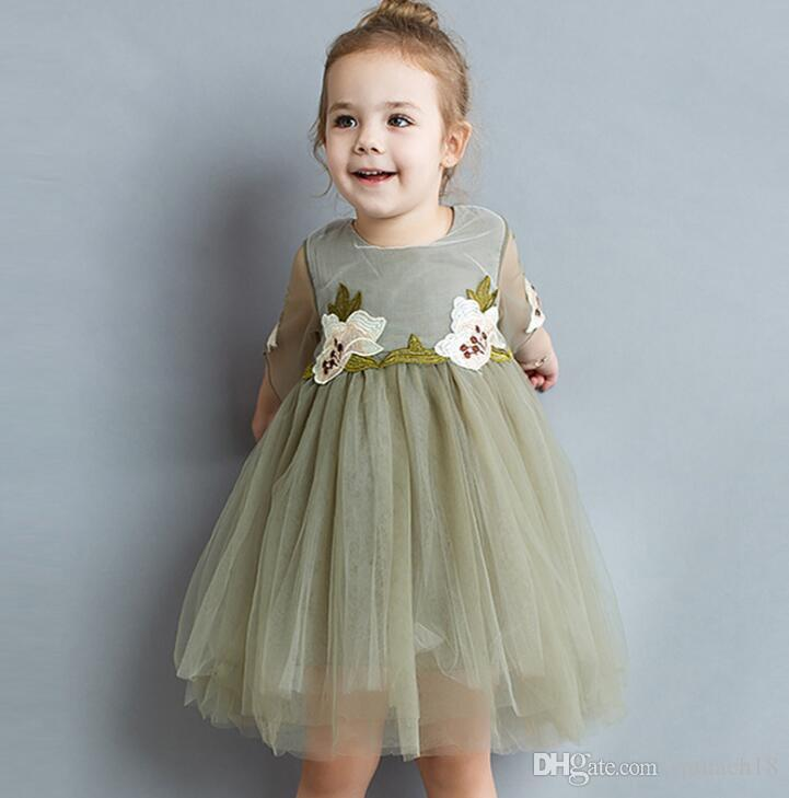 Hot Summer Baby Girls Lace Tulle Floral Dress Kids Flower Embroidery Ball Gown Princess Party Dress Children Cotton Tutu Dresses Beige Dark
