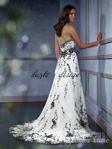 Vestido de noiva nupcial gótico vintage mais tamanho querida bordado preto acentuado uma linha preto e branco vestido de noiva